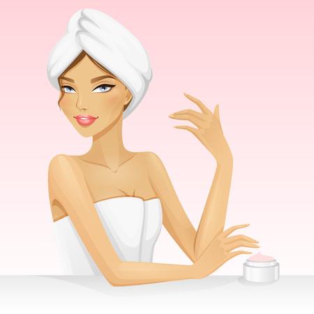 Donna con un asciugamano sulla testa dopo doccia o vasca. Bella illustrazione vettoriale per la stazione termale o la bellezza. Spa ragazza. Archivio Fotografico - 43273566