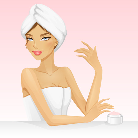 Woman with a towel on the head after shower or bath. Beautiful vector illustration for spa or beauty. Spa girl.