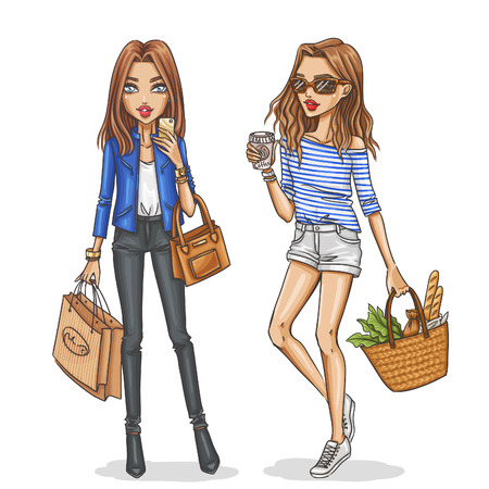 woman fashion: Beautiful and stylish fashion girls. Hand drawn girls in spring-summer outfits. Vector illustration. Illustration