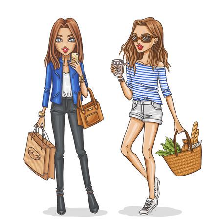 fashion: Belles et élégantes filles de la mode. Main filles tirées dans des tenues printemps-été. Vector illustration. Illustration