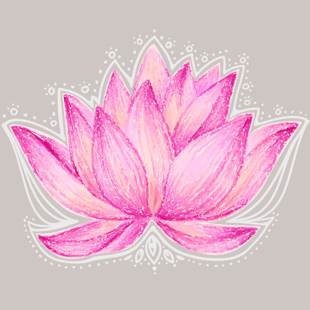 Beautiful lotus flower illustration. Lotus flower design card. Banco de Imagens - 43273677