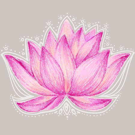 Beautiful lotus flower illustration. Lotus flower design card.