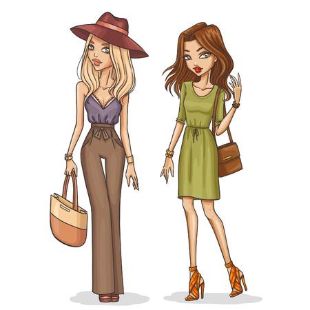 Schöne und stilvolle Mode Mädchen. Hand gezeichnet Mädchen in Frühling-Sommer-Outfits. Vektor-Illustration.