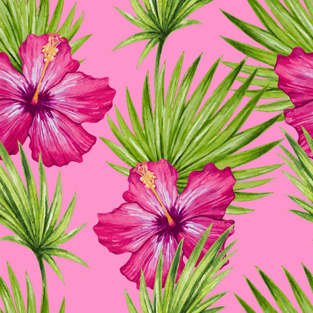 Watercolor hibiscus flower and palm leaves seamless pattern. Vector illustration.