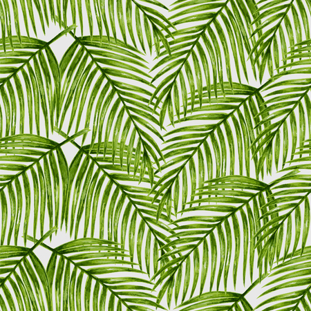 palm trees: Watercolor tropical palm leaves seamless pattern. Vector illustration.