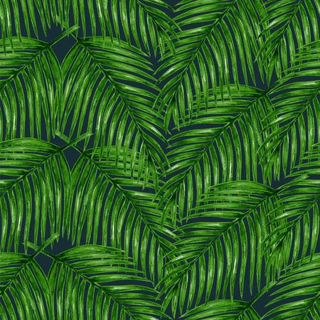 Aquarel tropische palm verlaat naadloos patroon. Vector illustratie. Stock Illustratie