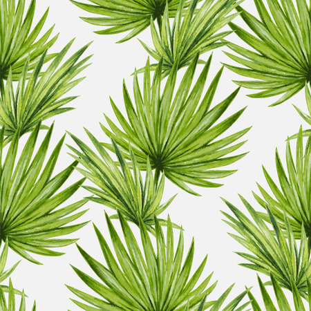 tropical leaves: Watercolor tropical palm leaves seamless pattern. Vector illustration.