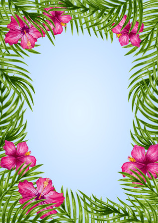 tropical garden: Palm leaves and tropical flower background. Tropical greeting card.