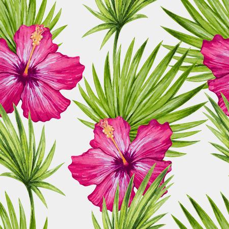 Aquarel hibiscus bloem en palmbladeren naadloos patroon. Vector illustratie.