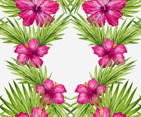 tropical tree: Watercolor hibiscus flower and palm leaves seamless pattern. Vector illustration.