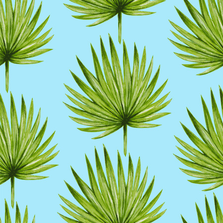 patterns vector: Watercolor tropical palm leaves seamless pattern