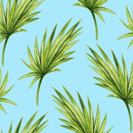 Watercolor tropical palm leaves seamless pattern Zdjęcie Seryjne - 45007991