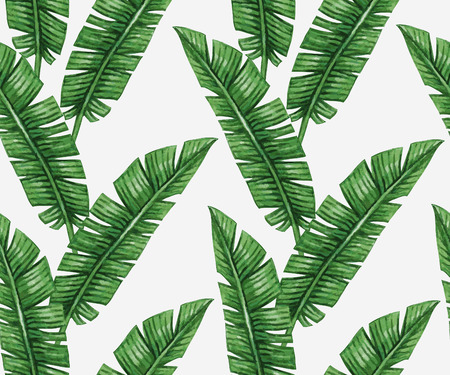 Watercolor tropical palm leaves seamless pattern Zdjęcie Seryjne - 45008364