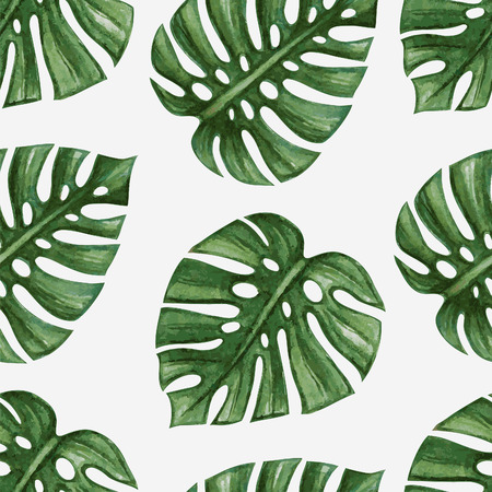 rainforest tree: Watercolor tropical palm leaves seamless pattern