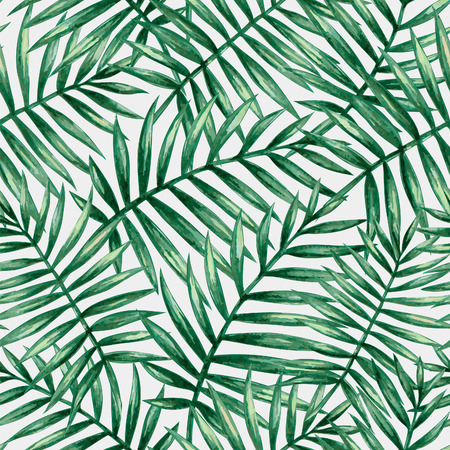 Watercolor tropical palm leaves seamless pattern 版權商用圖片 - 45008391