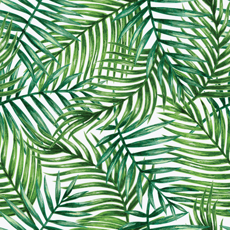 forest trees: Watercolor tropical palm leaves seamless pattern