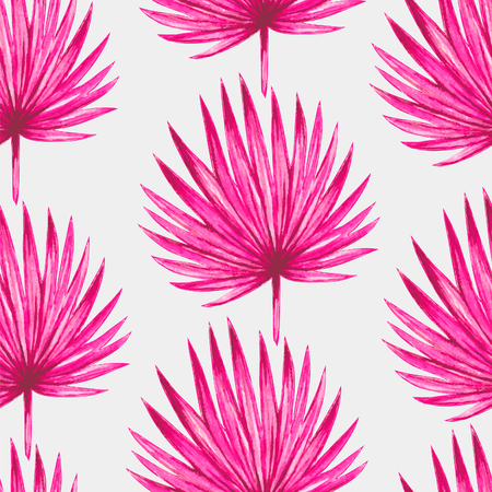 palm tree vector: Watercolor tropical palm leaves seamless pattern