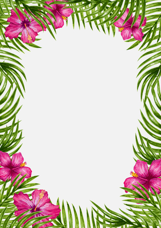 Palm leaves and tropical flower background. Tropical greeting card.