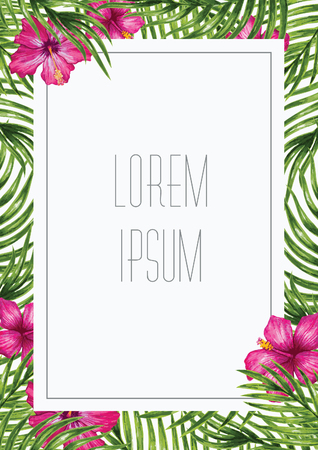tropical forest: Palm leaves and tropical flower background. Tropical greeting card.