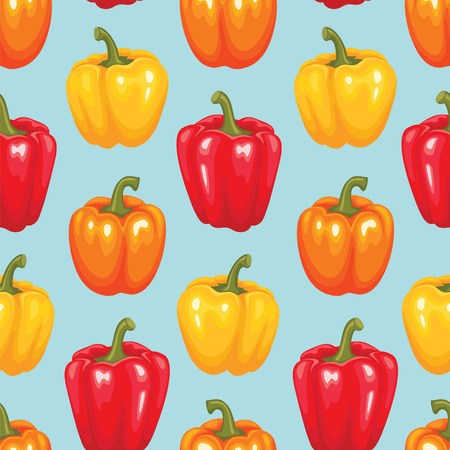 Bell pepper seamless pattern. Vegetable vector illustration.