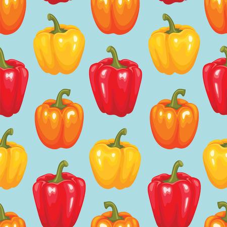 red pepper: Bell pepper seamless pattern. Vegetable vector illustration.