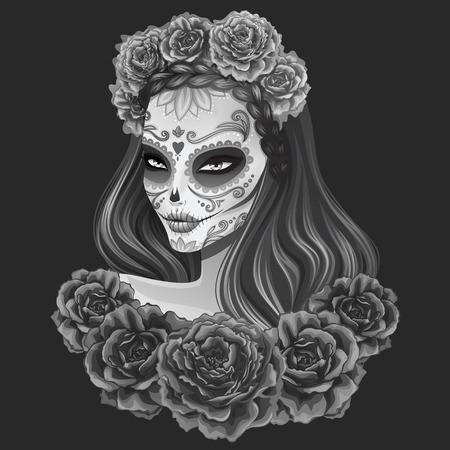 美しい砂糖頭蓋骨女性イラスト。死者の日ベクトル イラスト。  イラスト・ベクター素材