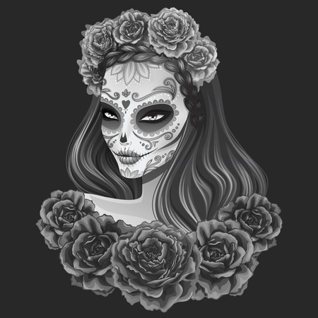 tattoo girl: Beautiful sugar skull woman illustration. Day of dead vector illustration.