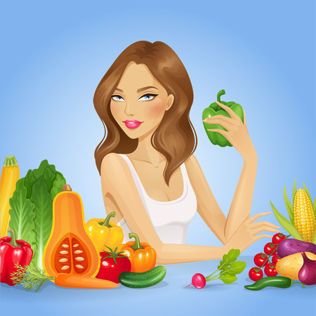 peasant woman: Girl with fresh vegetables. Healthy food vector illustration.