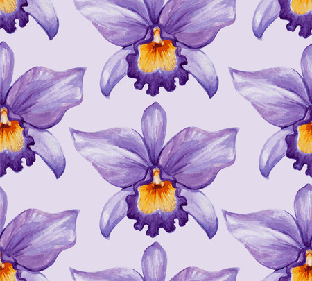Watercolor tropical orchid flower seamless pattern. Vector illustration