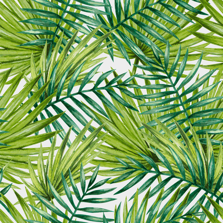 palm leaves: Watercolor tropical palm leaves seamless pattern. Vector illustration.