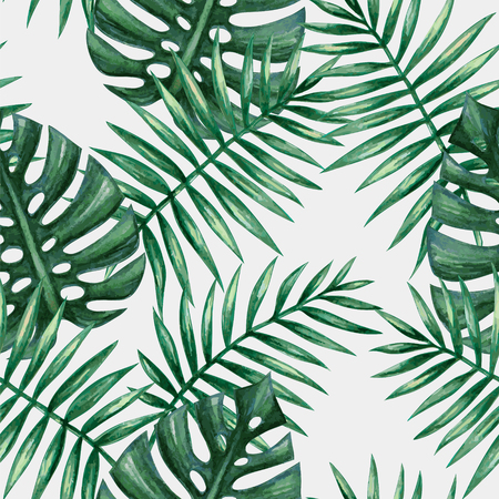 leaf: Watercolor tropical palm leaves seamless pattern. Vector illustration.