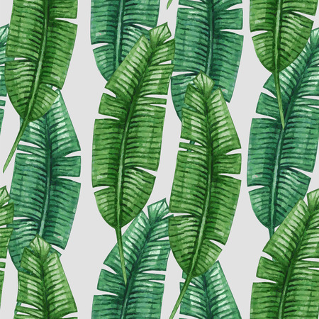 palmier: Palme tropicale Aquarelle laisse pattern. Vector illustration.