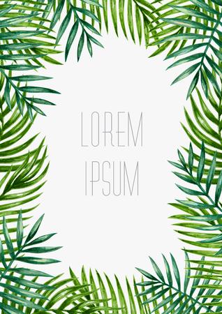 팜 잎 배경입니다. 열대 인사말 카드입니다.