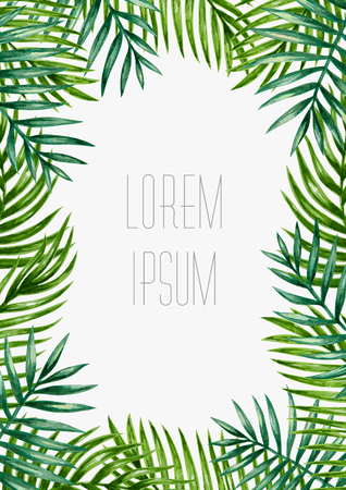palm leaf: Palm leaves background. Tropical greeting card.