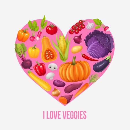 Ich liebe Gemüse. Herz von Gemüse. Vektor-Illustration.