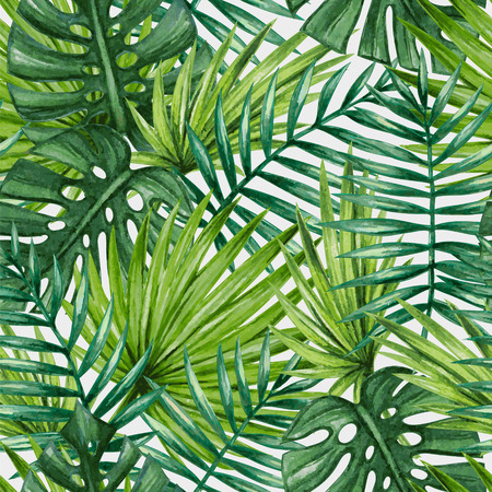 rainforest: Watercolor tropical palm leaves seamless pattern