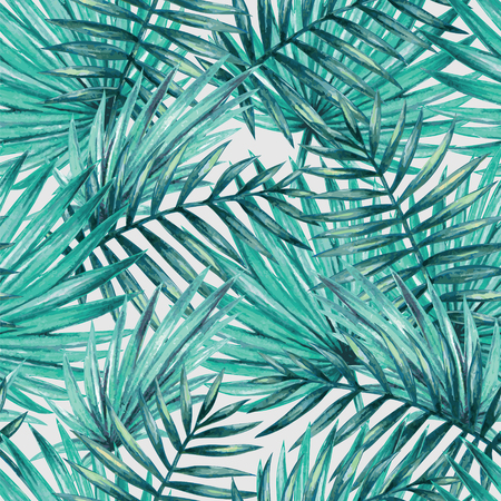 tropical forest: Watercolor tropical palm leaves seamless pattern