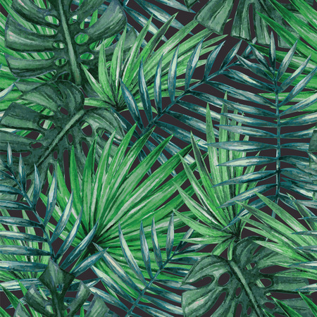 leaf: Watercolor tropical palm leaves seamless pattern
