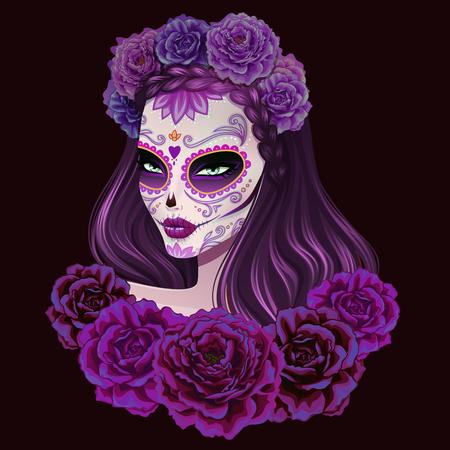 calavera: Ilustración de la mujer hermosa del cráneo del azúcar. Día de ilustración vectorial muertos. Vectores