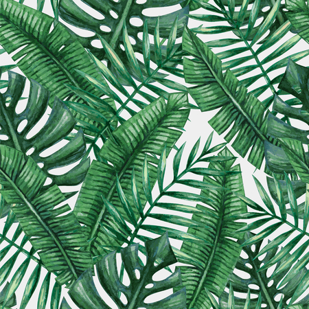 tropical forest: Watercolor tropical palm leaves seamless pattern.