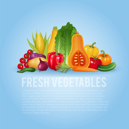 organic background: Fresh vegetables. Healthy and organic illustration background.