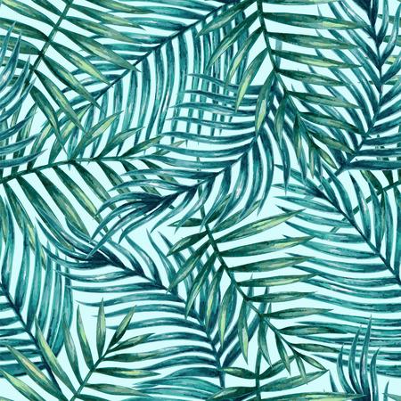 Waterverf het tropische palm verlaat naadloos patroon. Stock Illustratie