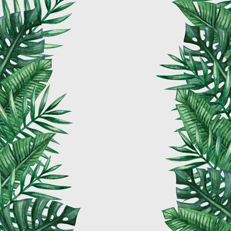 palmeras: Hojas de palmera plantilla de fondo. tarjeta de felicitación tropical.