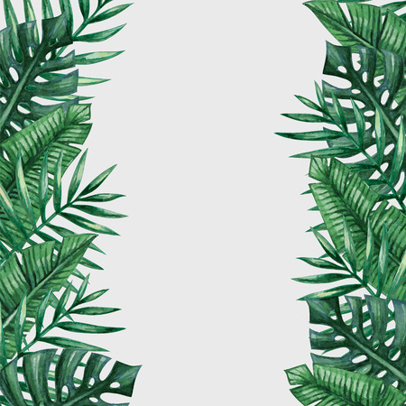 Palm tree leaves background template. Tropical greeting card. Ilustração