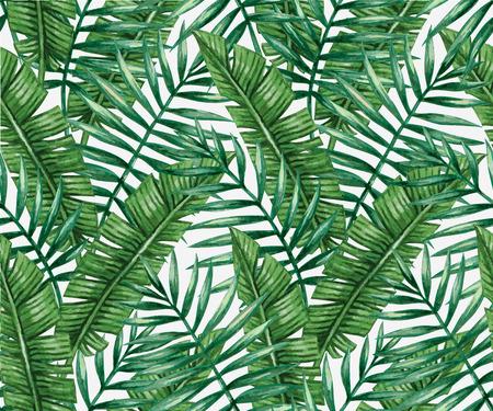 palmeras: palmera tropical de la acuarela deja patrón transparente.