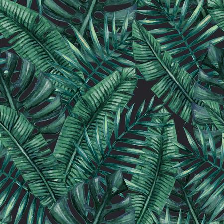 Akwarela tropikalnych liści palmowych szwu wzorca.