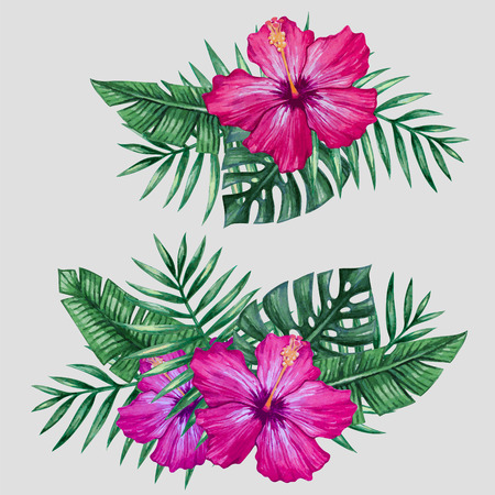 Watercolor tropical flowers and palm tree leaves.
