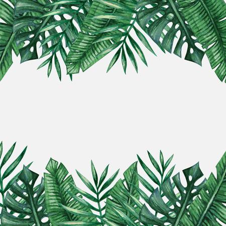 팜 트리 배경 템플릿을 떠난다. 열대 인사말 카드입니다.