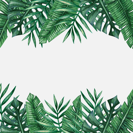 Palm tree leaves background template. Tropical greeting card. Vettoriali