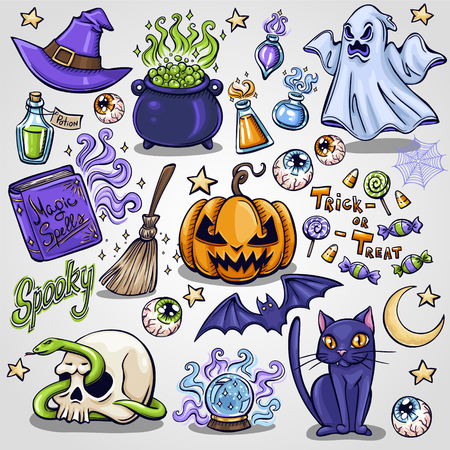 attributes: Halloween characters and attributes doodle set. Vector illustration.